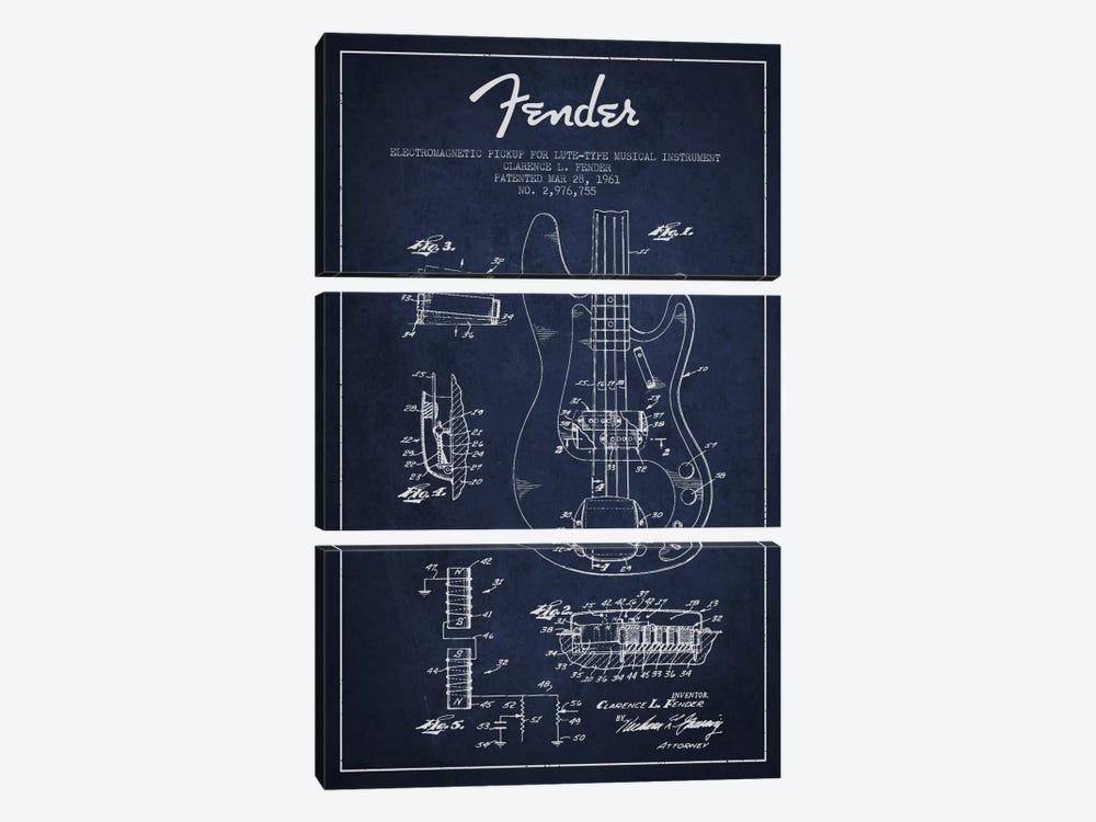 Guitar Navy Blue Patent Blueprint by Aged Pixel 3-piece Canvas Art Print