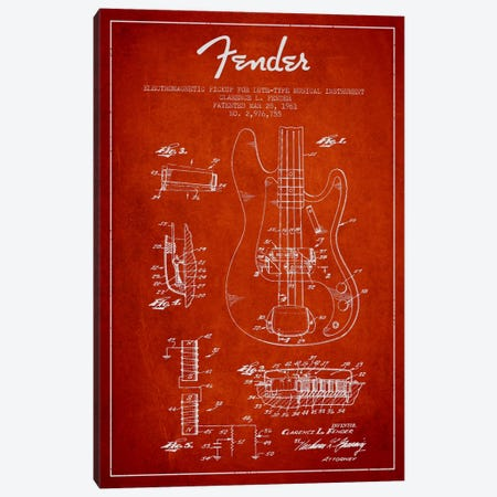 Guitar Red Patent Blueprint Canvas Print #ADP932} by Aged Pixel Canvas Print