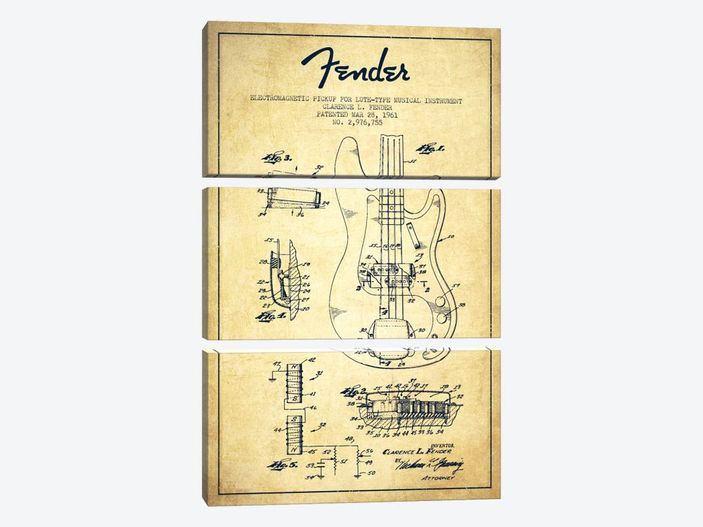 Guitar Vintage Patent Blueprint by Aged Pixel 3-piece Canvas Print