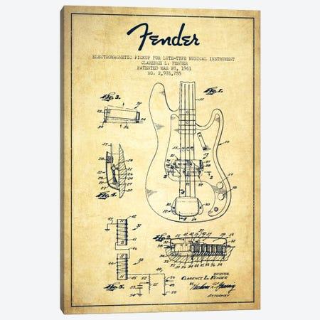 Guitar Vintage Patent Blueprint Canvas Print #ADP933} by Aged Pixel Canvas Art Print