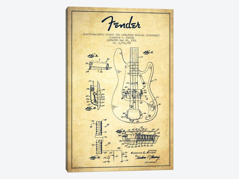 Guitar Vintage Patent Blueprint by Aged Pixel 1-piece Canvas Art Print