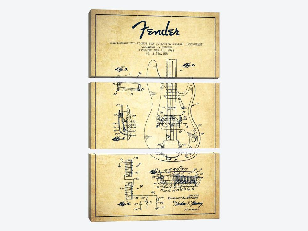 Guitar Vintage Patent Blueprint by Aged Pixel 3-piece Canvas Print