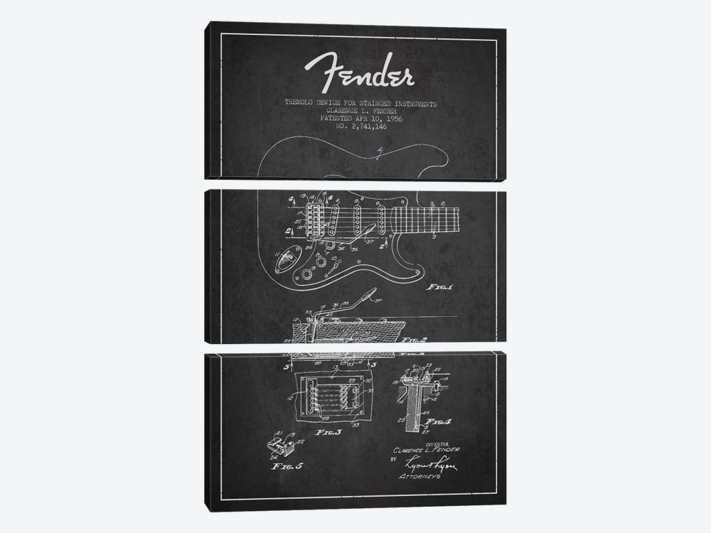 Tremolo Charcoal Patent Blueprint by Aged Pixel 3-piece Canvas Art