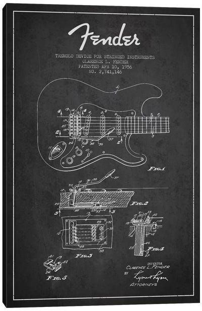 Tremolo Charcoal Patent Blueprint Canvas Art Print