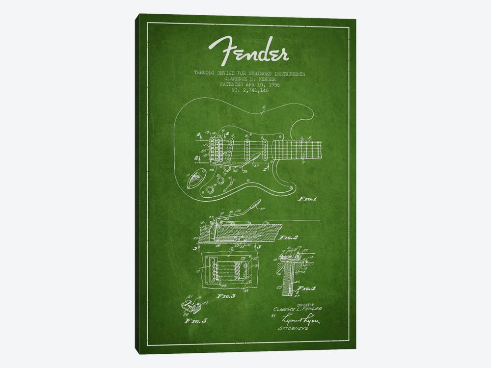 Tremolo Green Patent Blueprint by Aged Pixel 1-piece Art Print