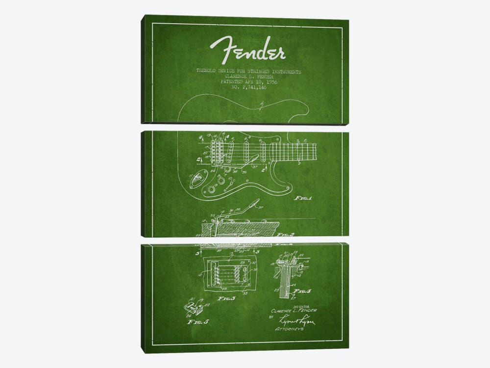 Tremolo Green Patent Blueprint by Aged Pixel 3-piece Art Print