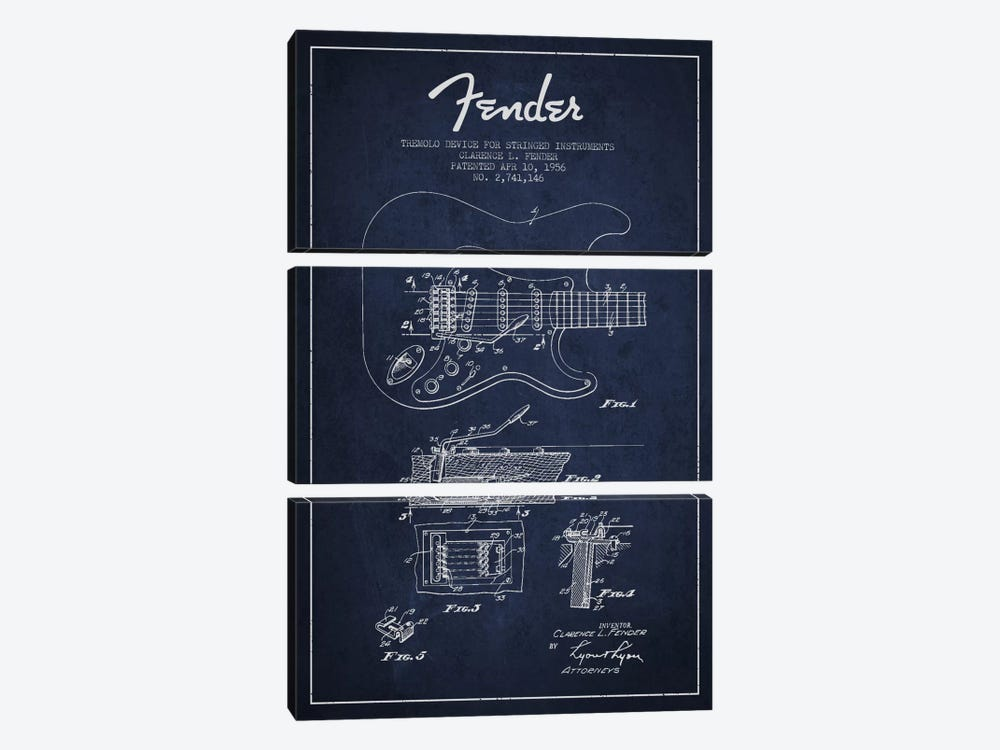 Tremolo Navy Blue Patent Blueprint by Aged Pixel 3-piece Canvas Art