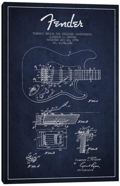 Tremolo Navy Blue Patent Blueprint Canvas Art Print