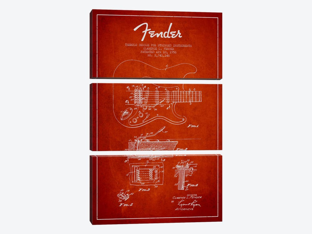 Tremolo Red Patent Blueprint by Aged Pixel 3-piece Canvas Art Print