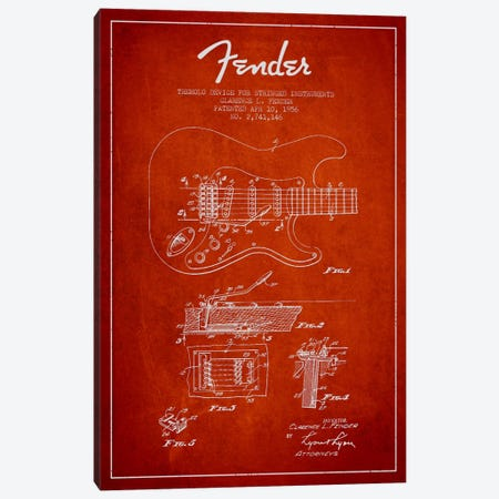 Tremolo Red Patent Blueprint Canvas Print #ADP937} by Aged Pixel Canvas Wall Art