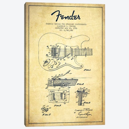 Tremolo Vintage Patent Blueprint Canvas Print #ADP938} by Aged Pixel Canvas Art Print