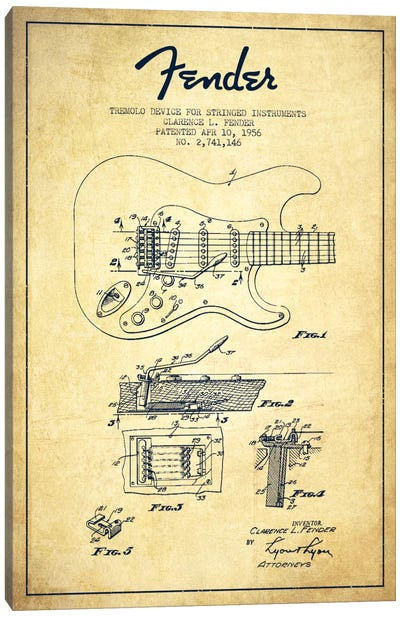 Tremolo Vintage Patent Blueprint Canvas Art Print