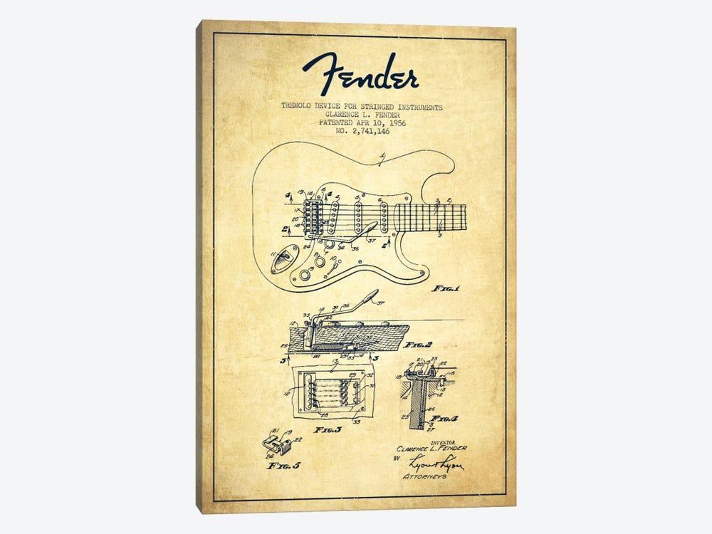 Tremolo Vintage Patent Blueprint by Aged Pixel 1-piece Canvas Artwork
