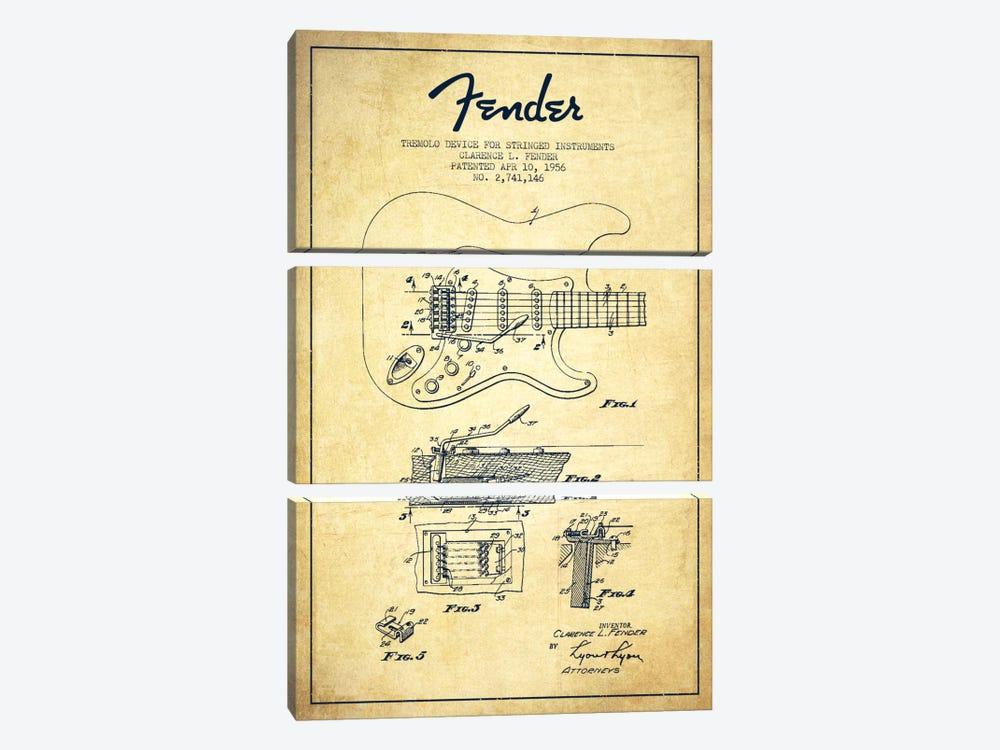 Tremolo Vintage Patent Blueprint by Aged Pixel 3-piece Canvas Art