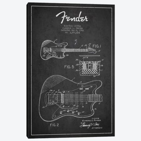 Electric Guitar Charcoal Patent Blueprint Canvas Print #ADP939} by Aged Pixel Canvas Print