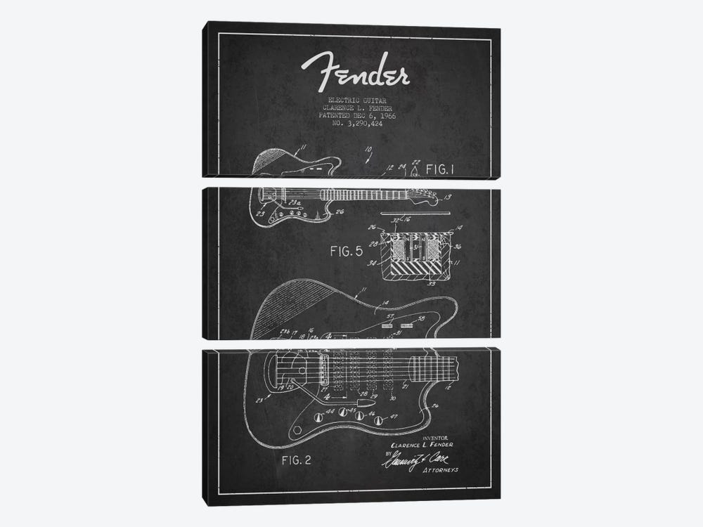 Electric Guitar Charcoal Patent Blueprint by Aged Pixel 3-piece Canvas Print