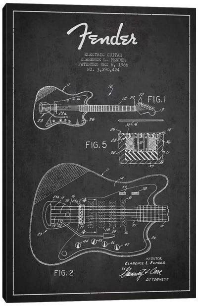 Electric Guitar Charcoal Patent Blueprint Canvas Art Print