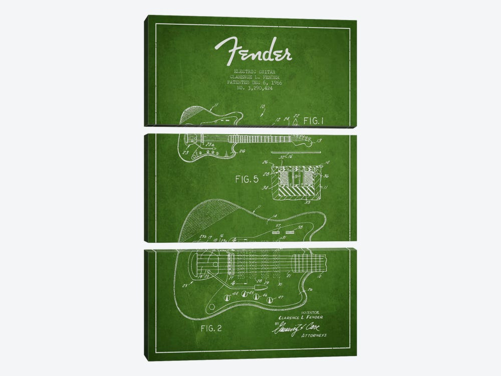 Electric Guitar Green Patent Blueprint by Aged Pixel 3-piece Art Print