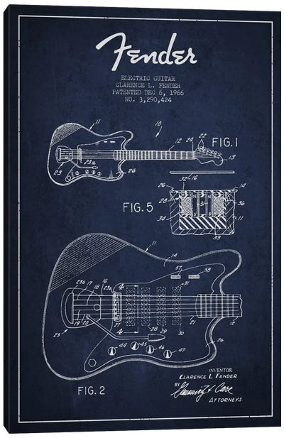 Electric Guitar Navy Blue Patent Blueprint Canvas Art Print