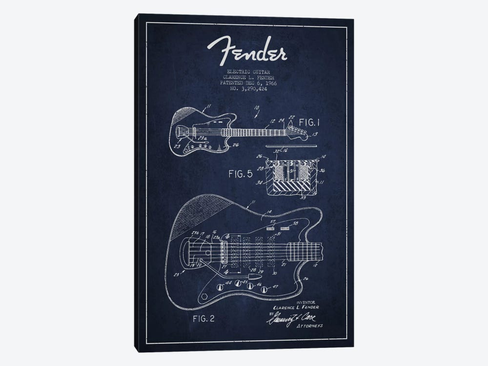 Electric Guitar Navy Blue Patent Blueprint by Aged Pixel 1-piece Canvas Art