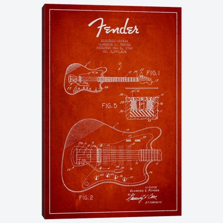 Electric Guitar Red Patent Blueprint Canvas Print #ADP942} by Aged Pixel Canvas Artwork