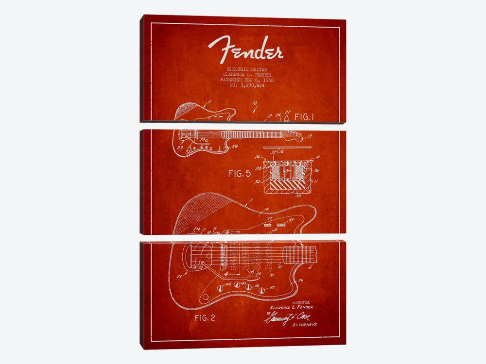 Electric Guitar Red Patent Blueprint by Aged Pixel 3-piece Art Print