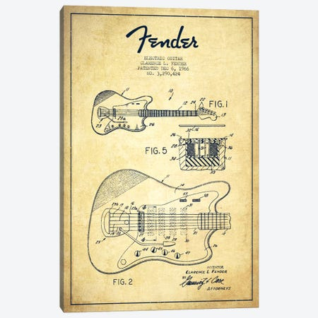 Electric Guitar Vintage Patent Blueprint Canvas Print #ADP943} by Aged Pixel Canvas Wall Art