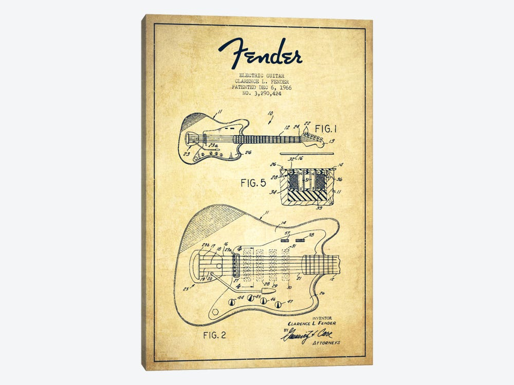 Electric Guitar Vintage Patent Blueprint by Aged Pixel 1-piece Canvas Artwork