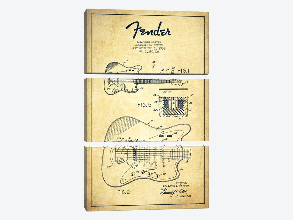 Electric Guitar Vintage Patent Blueprint by Aged Pixel 3-piece Canvas Artwork