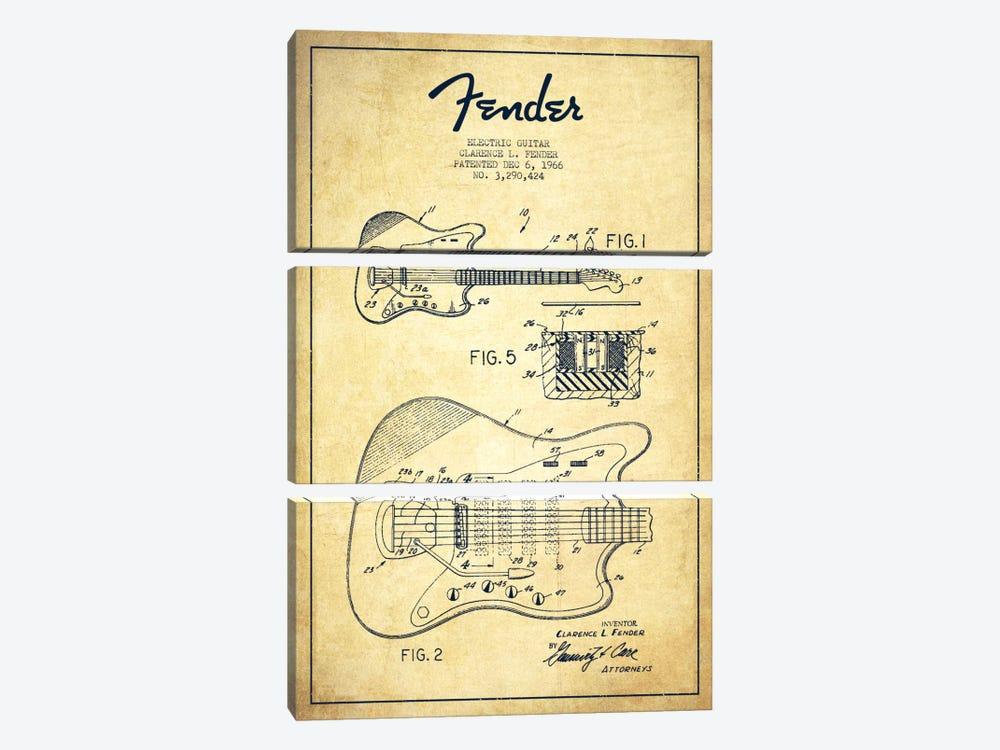 Electric Guitar Vintage Patent Blueprint by Aged Pixel 3-piece Canvas Artwork