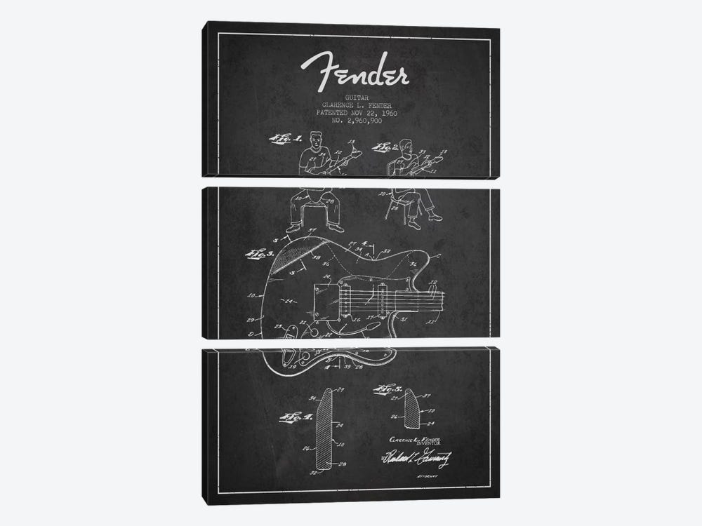 Fender Guitar Charcoal Patent Blueprint by Aged Pixel 3-piece Canvas Print
