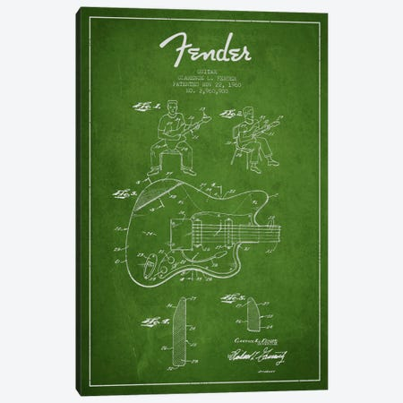 Fender Guitar Green Patent Blueprint Canvas Print #ADP945} by Aged Pixel Canvas Art Print