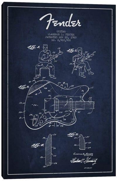 Fender Guitar Navy Blue Patent Blueprint Canvas Print #ADP946