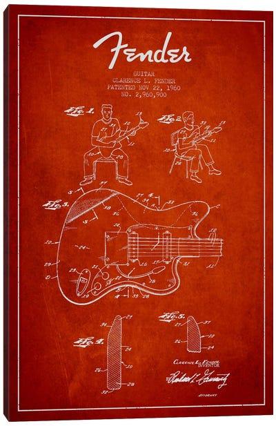 Fender Guitar Red Patent Blueprint Canvas Print #ADP947