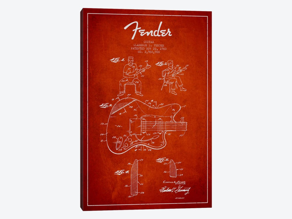 Fender Guitar Red Patent Blueprint by Aged Pixel 1-piece Canvas Wall Art