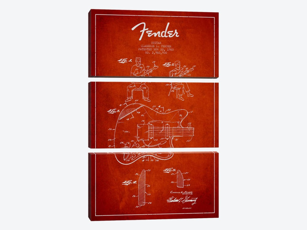 Fender Guitar Red Patent Blueprint by Aged Pixel 3-piece Canvas Artwork