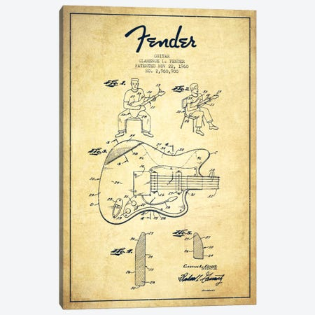 Fender Guitar Vintage Patent Blueprint Canvas Print #ADP948} by Aged Pixel Canvas Art