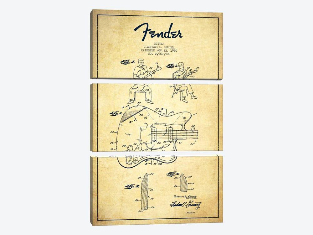 Fender Guitar Vintage Patent Blueprint by Aged Pixel 3-piece Canvas Print