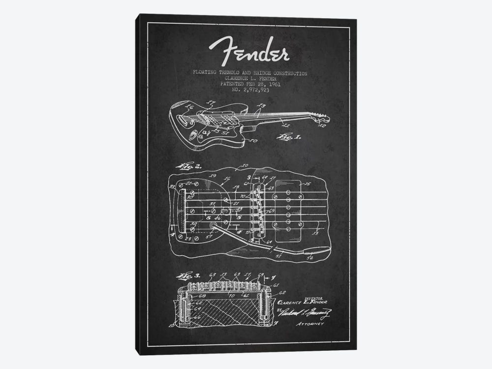 Floating Tremolo Charcoal Patent Blueprint by Aged Pixel 1-piece Canvas Artwork