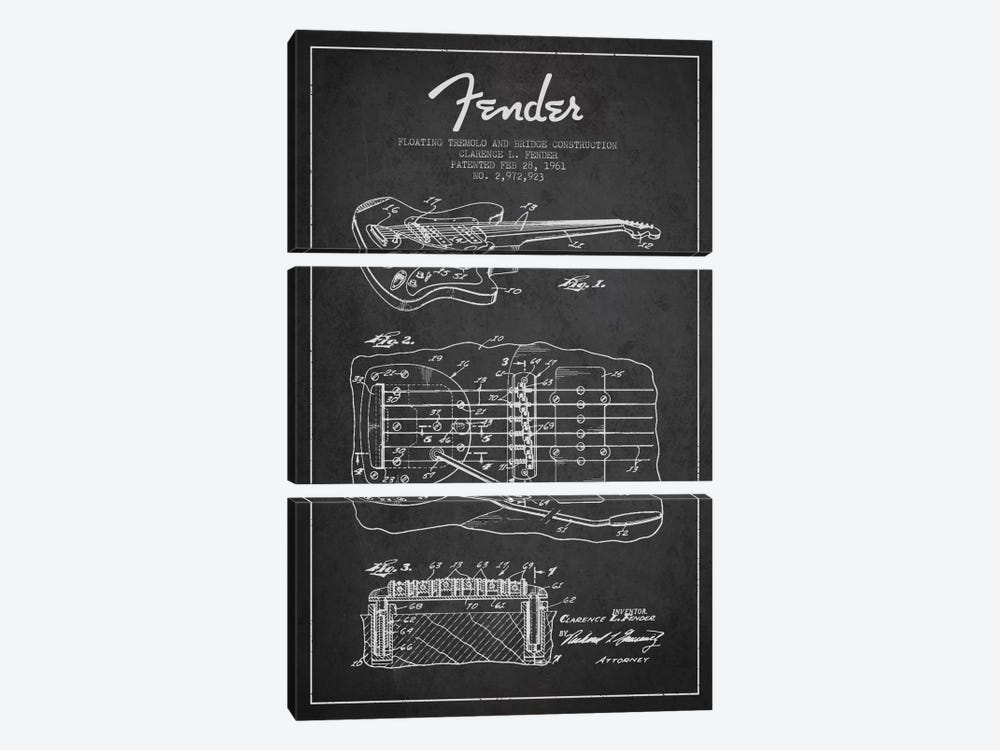 Floating Tremolo Charcoal Patent Blueprint by Aged Pixel 3-piece Canvas Artwork
