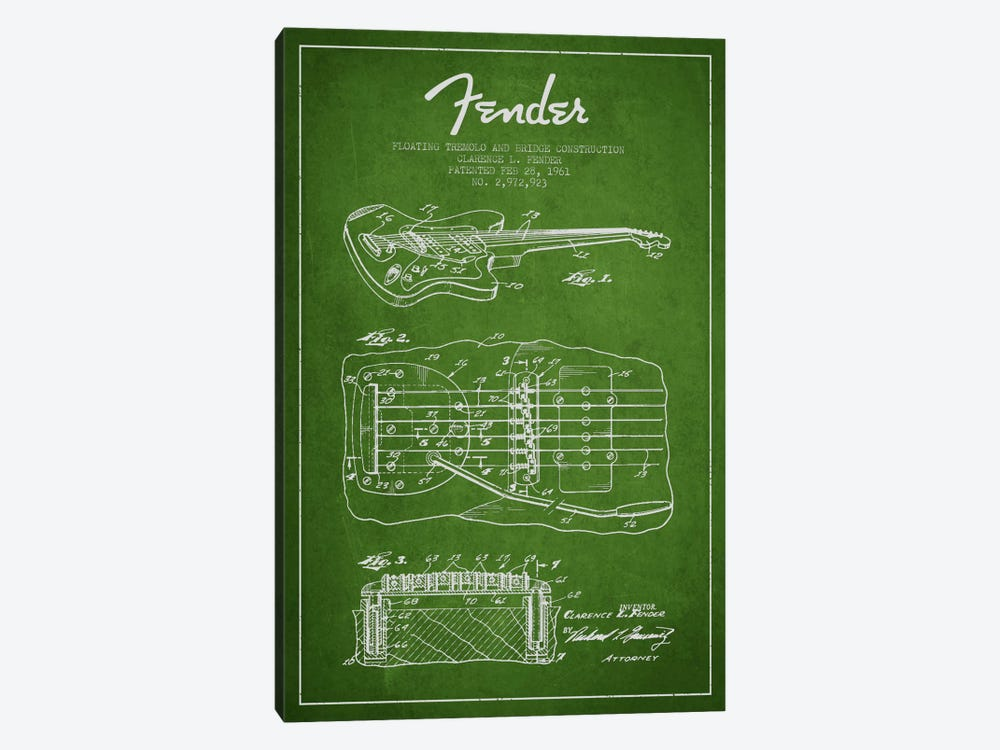 Floating Tremolo Green Patent Blueprint by Aged Pixel 1-piece Canvas Art
