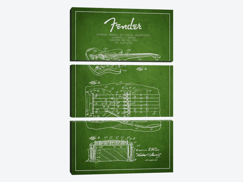 Floating Tremolo Green Patent Blueprint by Aged Pixel 3-piece Canvas Art