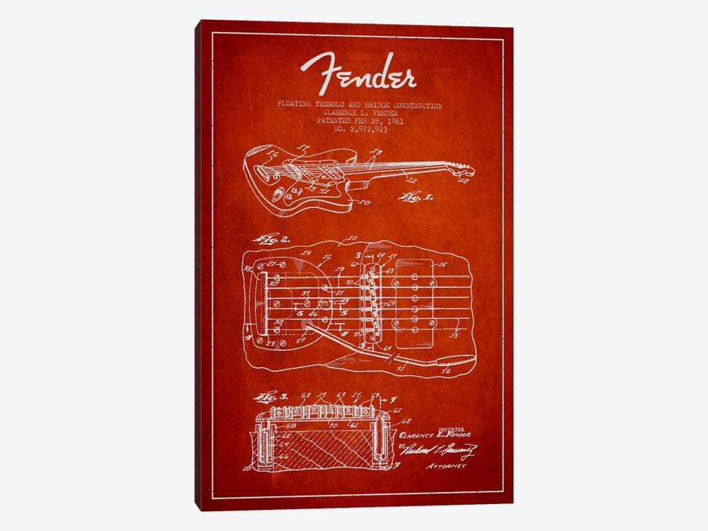 Floating Tremolo Red Patent Blueprint by Aged Pixel 1-piece Canvas Art