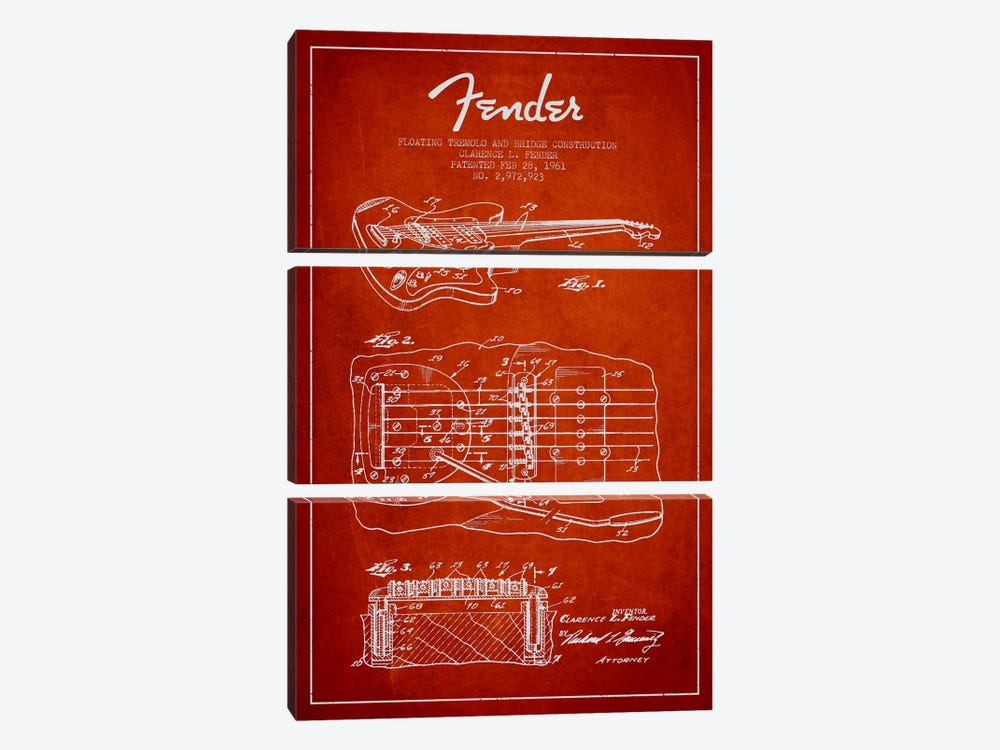 Floating Tremolo Red Patent Blueprint by Aged Pixel 3-piece Canvas Artwork
