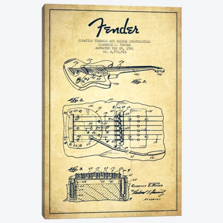 Floating Tremolo Vintage Patent Blueprint Canvas Print #ADP953} by Aged Pixel Canvas Print
