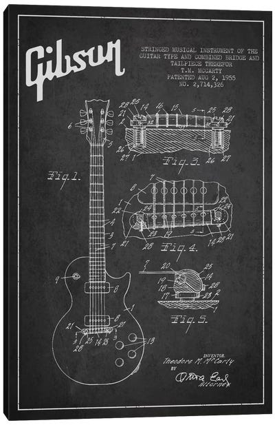 Gibson Guitar Charcoal Patent Blueprint Canvas Art Print