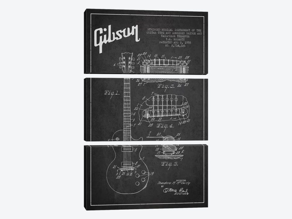 Gibson Guitar Charcoal Patent Blueprint by Aged Pixel 3-piece Canvas Artwork