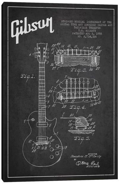 Gibson Guitar Charcoal Patent Blueprint Canvas Art Print