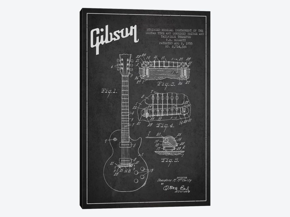 Gibson Guitar Charcoal Patent Blueprint by Aged Pixel 1-piece Canvas Wall Art
