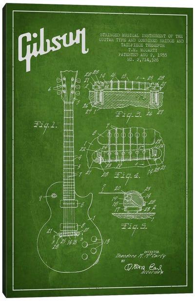 Gibson Guitar Green Patent Blueprint Canvas Print #ADP955